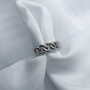 925 Sterling Silver Cuban Link Ring